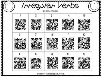Mastering Verbs Task Cards {24 Irregular Verb Task Cards + QR code check}