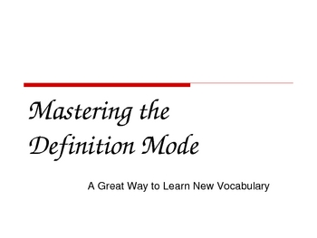 Mastering the Definition Mode Power Point