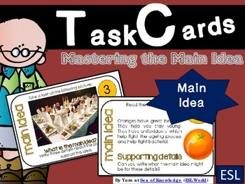 Finding the Main Idea Task Cards {24 Cards for ESL Beg - Int or Grades 3-6}