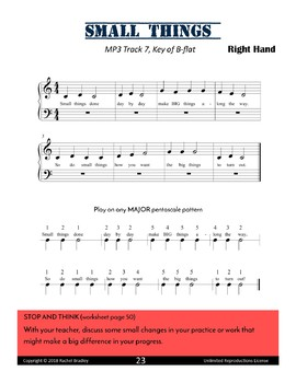 Masterminds Growth Mindset Piano Warm-ups: Small Things Song