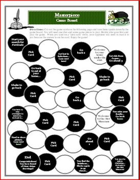 Masterpiece by Elise Broach Comprehension Game Board Activity