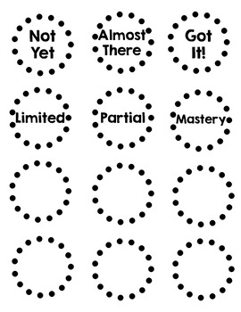 Mastery Level Labels/ Number Labels