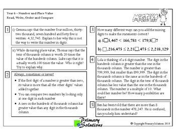 Mastery  Maths - Year 6 / 5th Grade - Number and Place Value