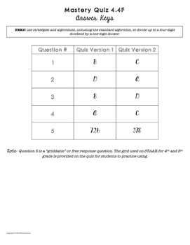 Mastery Quiz: Long Division with Standard Algorithm {TEKS 4.4F}