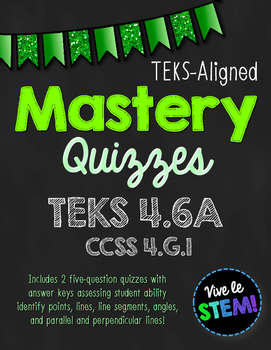 Mastery Quiz 4.6A: Points, Angles & Parallel & Perpendicular Lines {TEKS 4.6A}
