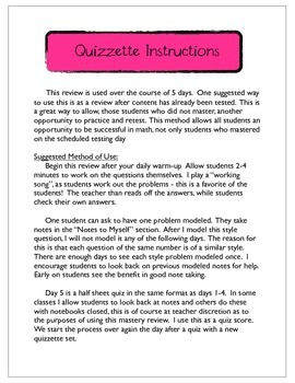 Mastery Review Quizzette - Place Value, Rounding, Properties, Expanded Form