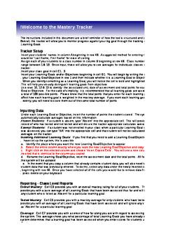 Mastery Tracker/ Goal Setter/ Data Analysis