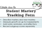 Student Mastery Tracking Form