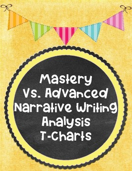 Mastery vs. Advanced Narrative Writing Student Work Analysis T-Charts