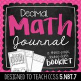 5th Grade Decimal Math Journal
