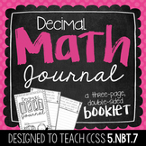 5th Grade Decimal Math Journal