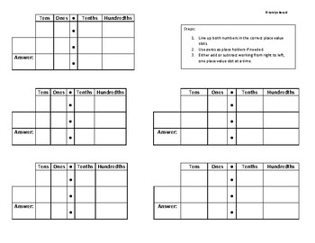 Mat for Adding and Subtracting Decimals