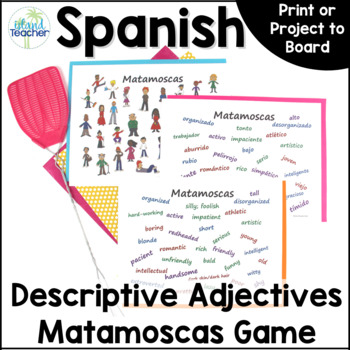 Matamoscas (Flyswatter) Game with Spanish Descriptive Adjectives