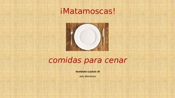 Matamoscas!  Slide for Spanish food vocabulary game Realidades 3B