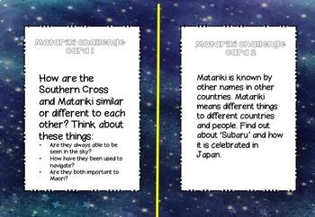 Matariki Challenge cards - Upper Primary