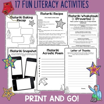 Matariki Print and Go Activity Pack 15 Engaging Literacy Resources