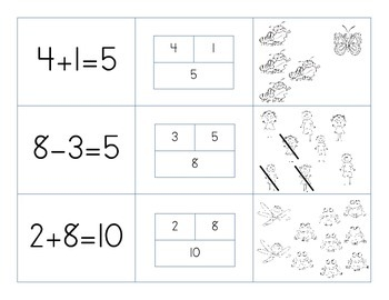 Match 3- Part Part Whole, Equations, and Pictures matching game