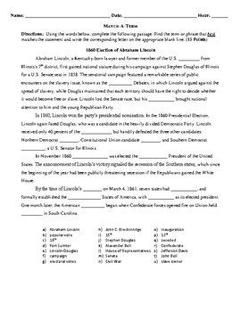 Free Printable Handout for the 1860 Election