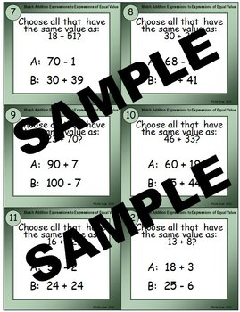 Match Addition Expressions to Expressions of Equal Value Addition Task Cards