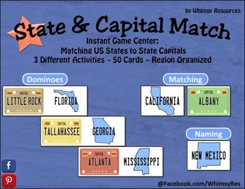 State and Capital Match Game Center