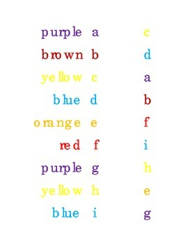 Match Drawn a Line Lower Case Alphabet Colors Kindergarten