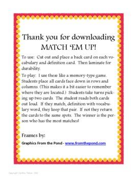 Match 'Em Up ! --Math Vocabulary