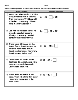 Match Equations to the Correct Word Problem