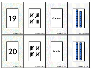 Match Four Game Cards for Numbers 11 to 20