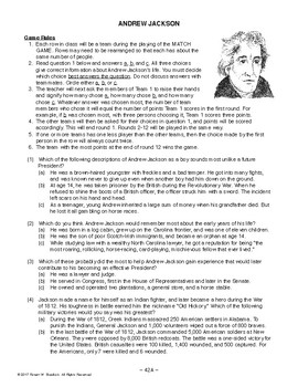 Andrew Jackson, AMERICAN HISTORY LESSON 42 of 100, Fun Match Game+Quiz
