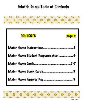 Match Game-Rhyming Words
