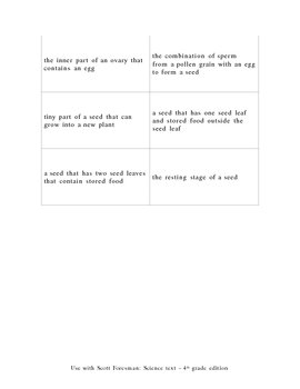 Match Game - Scott Foresman Science text Units A - D (4th grade ed)