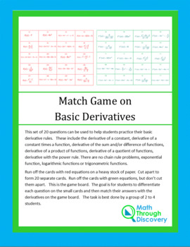 Match Game on Basic Derivatives