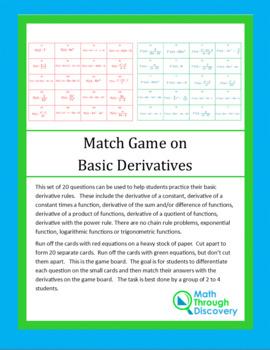 Match Game on Basic Derivatives