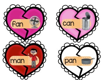 Match Heart Halves by Blending CVC Words and Pictures