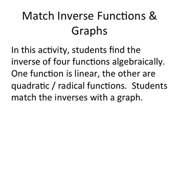 Match Inverses and Graphs - Digital Activity