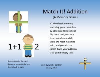Match It!  Addition Memory Matching Game