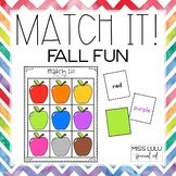 Match It! Fall Fun Independent Work Task