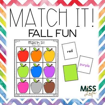 Match It! Fall Fun Independent Work Task