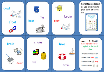 LONG VOWEL Families-ight,ain,oat,ive   SPOT IT ! type game.