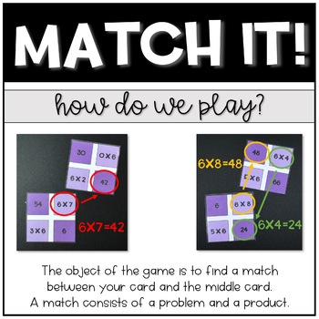Match It Game: Multiplication - Increase Fact Fluency 0's-12's