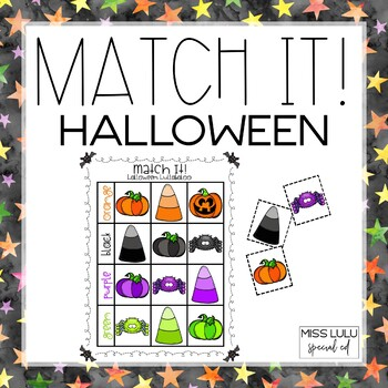 Match It! Halloween Independent Work Task