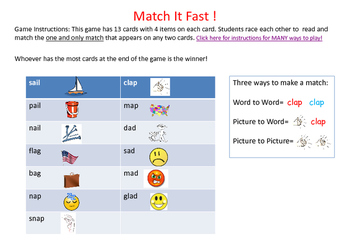 Match It Quick !   Word Family-Onset and Rime- ENGLISH ELL
