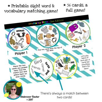 Match It Sight Word and Vocabulary Game - Home Edition - Printable