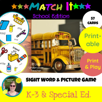 Match It Sight Word and Vocabulary Game - School Edition - Printable