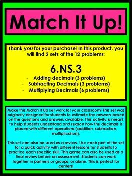 Decimal Activity - Matching (addition, subtraction., multiplication.)