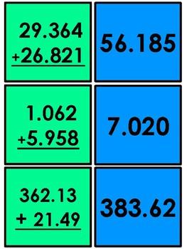 Decimal Activity - Matching (addition, subtraction, multiplication.)