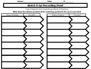 Match It Up! Dividing Fractions 6.NS.1