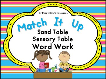 Match It Up Word Work For The Sand/Sensory Table