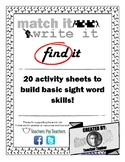Match It Write It Find It - Sight Words Practice Pack