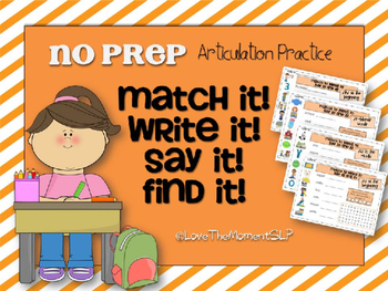 Match It! Write It! Say It! Find It! NO PREP Articulation Practice FREEBIE